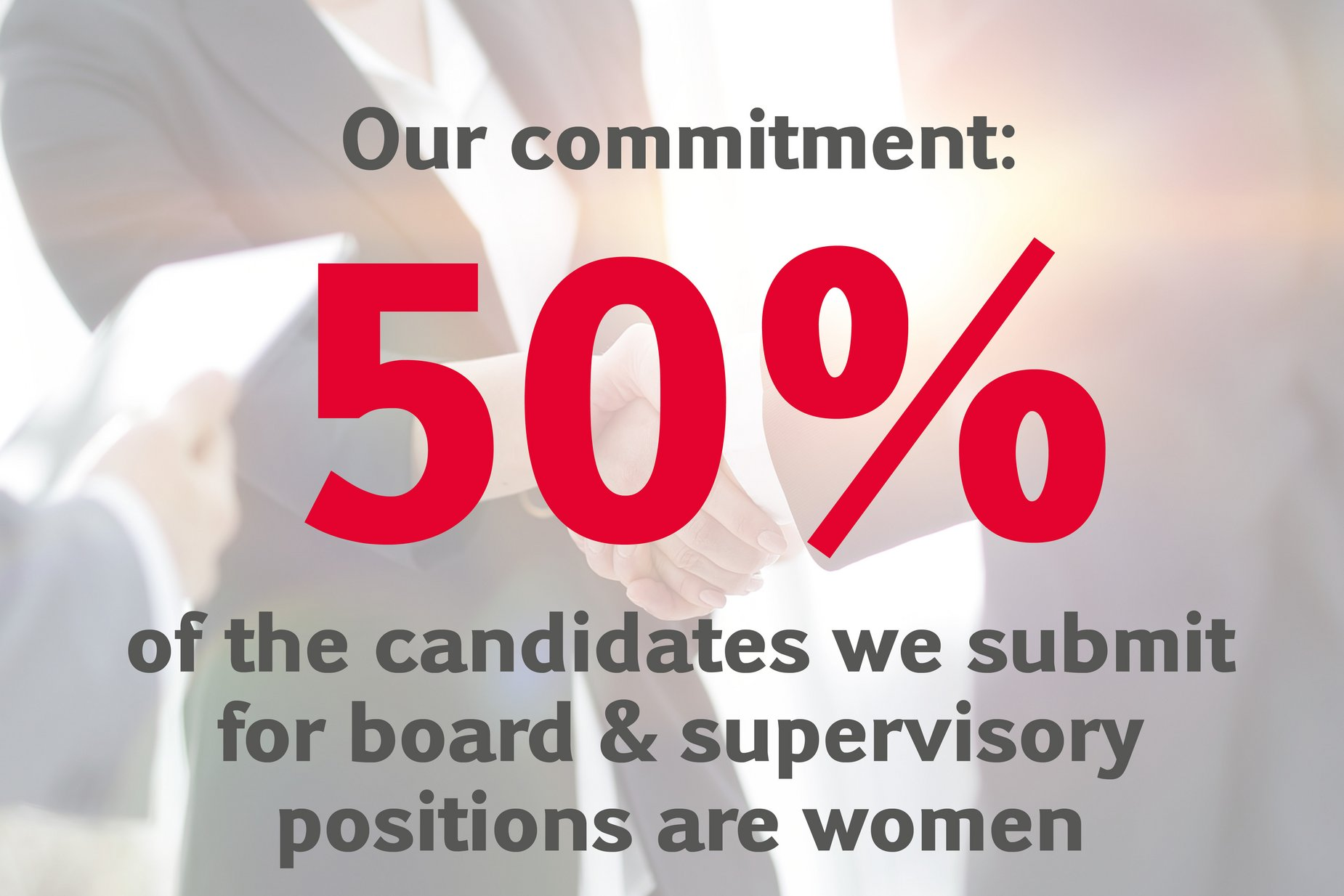 Our commitment: 50% of the candidates we submit for board & supervisory positions are women